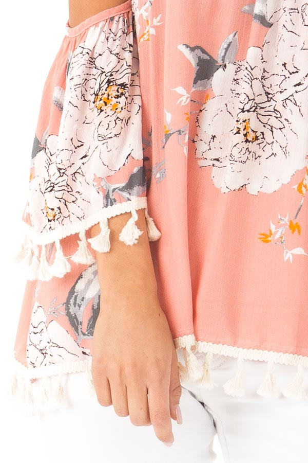 Peachy Pink Floral Print Cold Shoulder Top with Tassels detail