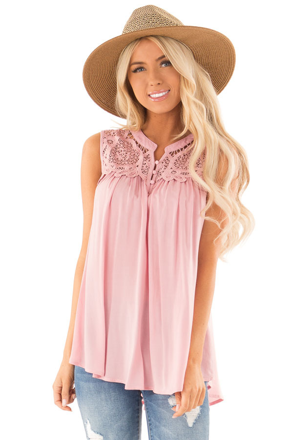 Dusty Pink Tank Top with Crochet Lace Yoke and Button Detail front close up