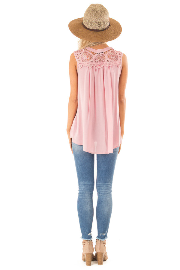 Dusty Pink Tank Top with Crochet Lace Yoke and Button Detail back full body