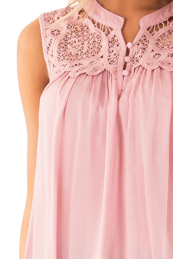 Dusty Pink Tank Top with Crochet Lace Yoke and Button Detail detail