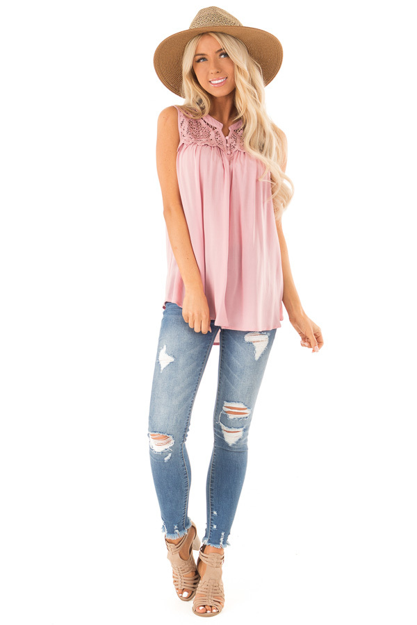 Dusty Pink Tank Top with Crochet Lace Yoke and Button Detail front full body