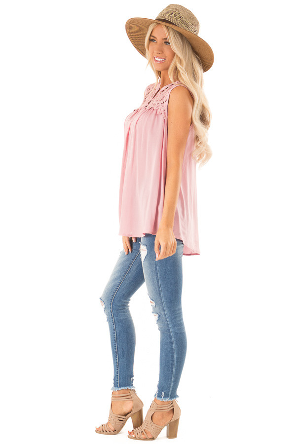 Dusty Pink Tank Top with Crochet Lace Yoke and Button Detail side full body