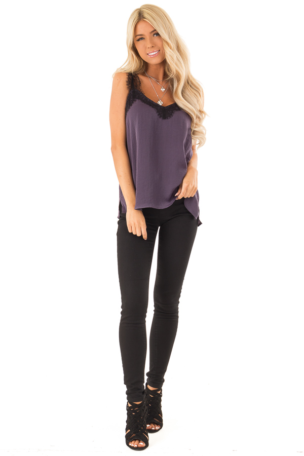 Eggplant Satin V Neck Tank Top with Black Eyelash Lace front full body