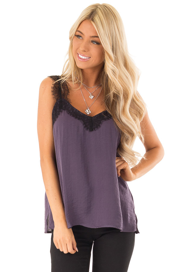Eggplant Satin V Neck Tank Top with Black Eyelash Lace front close up