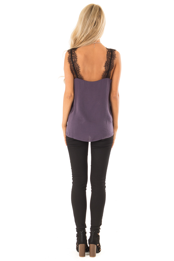 Eggplant Satin V Neck Tank Top with Black Eyelash Lace back full body