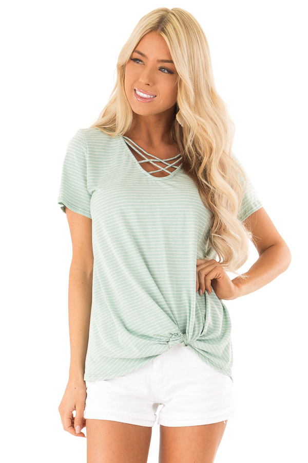 Mint and Ivory Striped Top with Front Twist Detail front close up