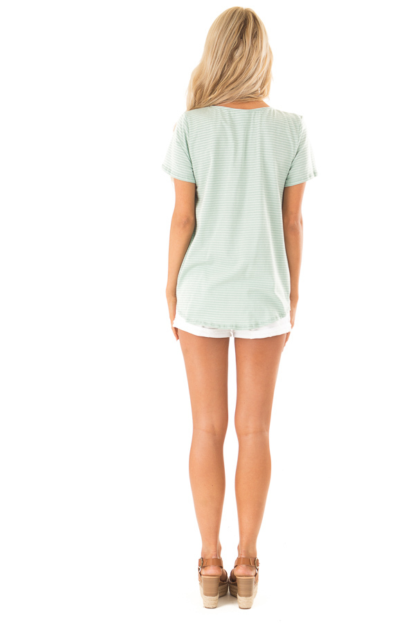 Mint and Ivory Striped Top with Front Twist Detail back full body
