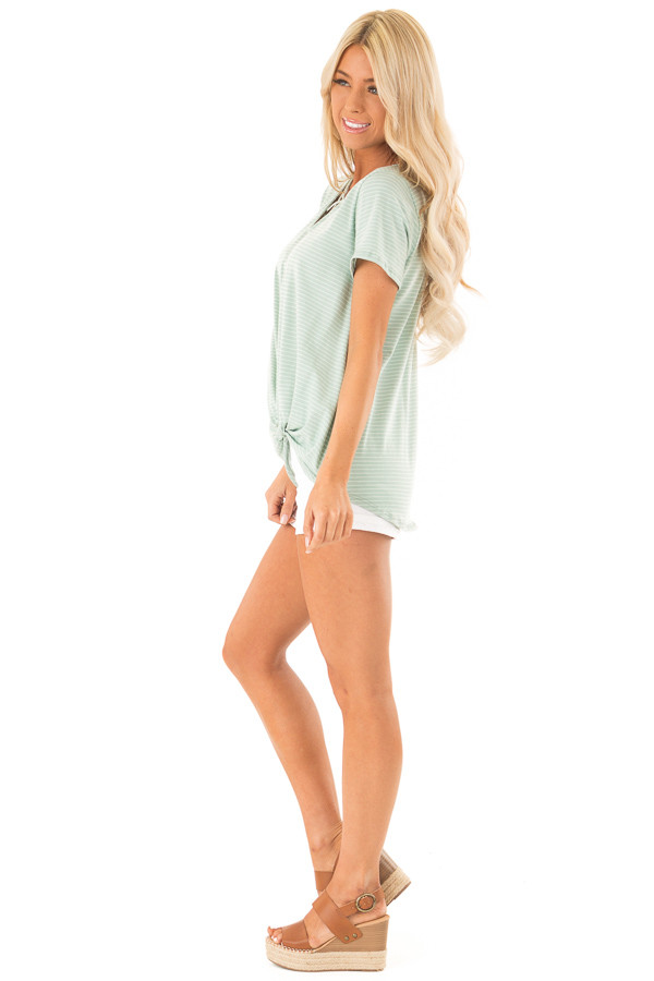 Mint and Ivory Striped Top with Front Twist Detail side full body