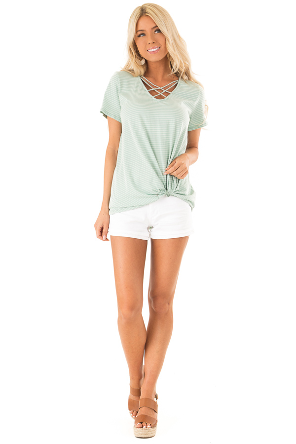 Mint and Ivory Striped Top with Front Twist Detail front full body