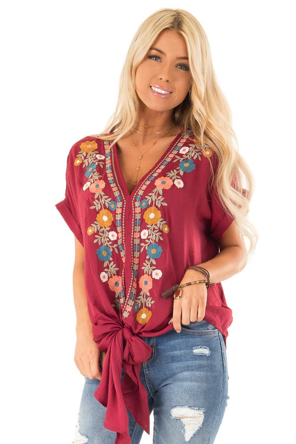 Burgundy Embroidered Short Sleeve Top with Front Tie front close up