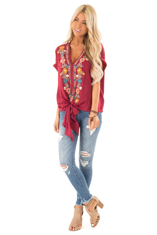 Burgundy Embroidered Short Sleeve Top with Front Tie front full body