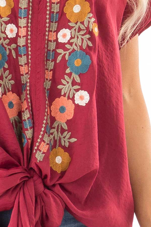 Burgundy Embroidered Short Sleeve Top with Front Tie detail