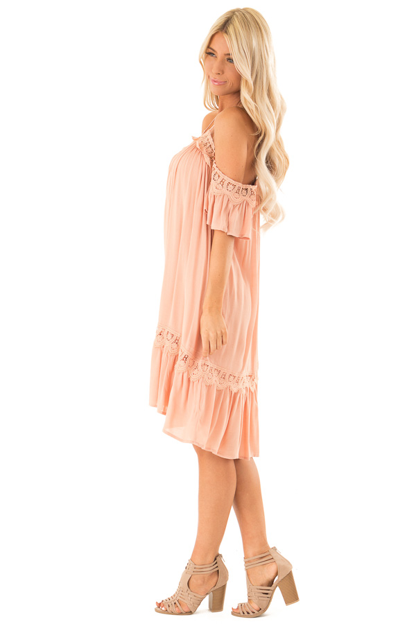 Dark Peach Off the Shoulder Dress with Crochet Lace Detail side full body