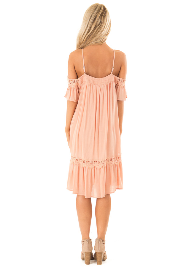 Dark Peach Off the Shoulder Dress with Crochet Lace Detail back full body