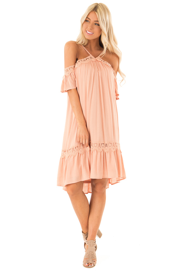Dark Peach Off the Shoulder Dress with Crochet Lace Detail front full body
