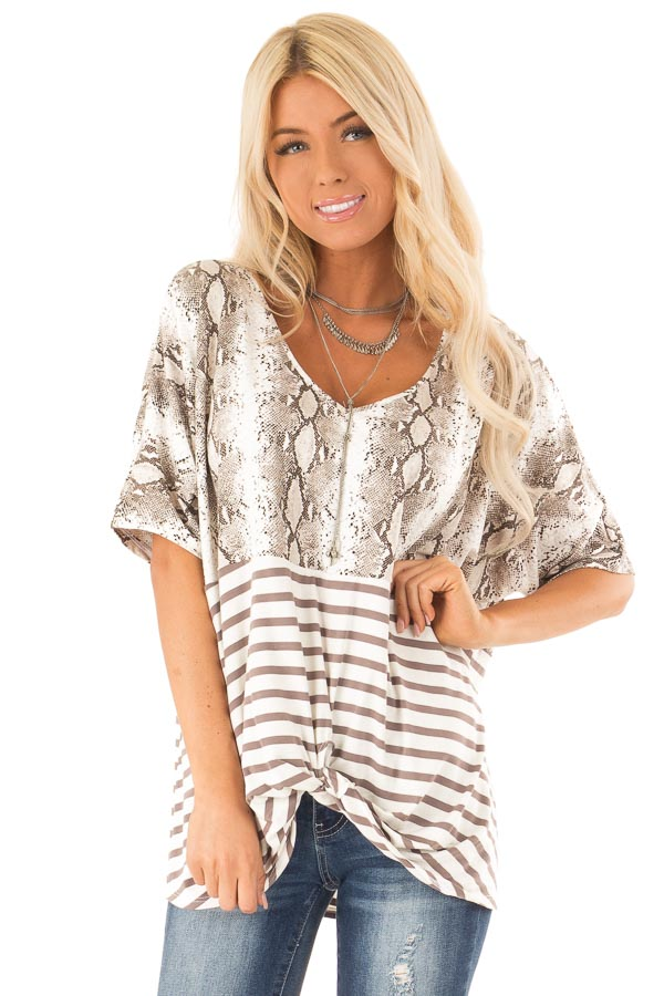 Coffee Snakeskin Print Short Sleeve Top with Front Twist front close up