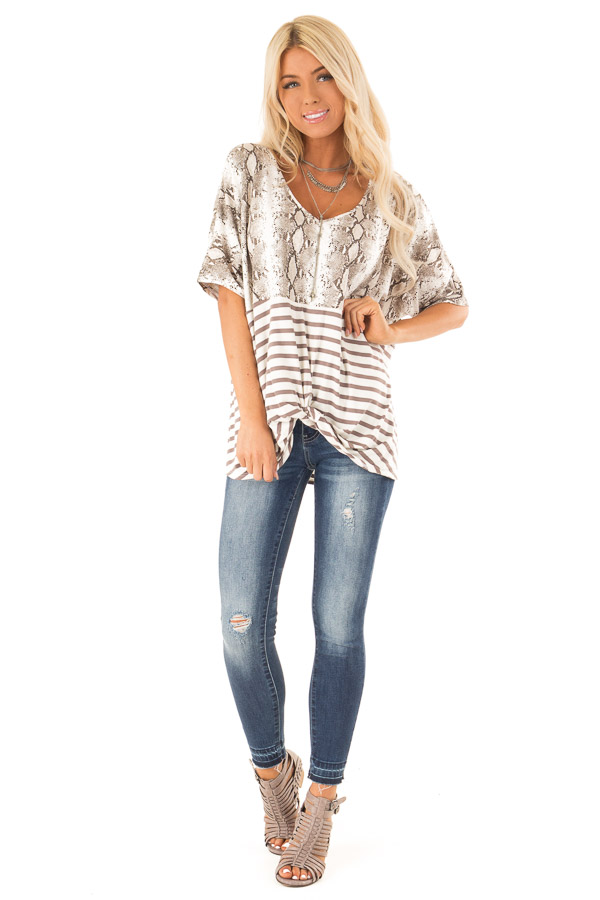 Coffee Snakeskin Print Short Sleeve Top with Front Twist front full body