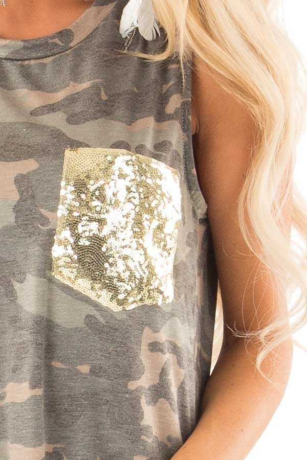 Camo Tank with Shoulder Cutouts Gold Sequin Pocket and Tie detail