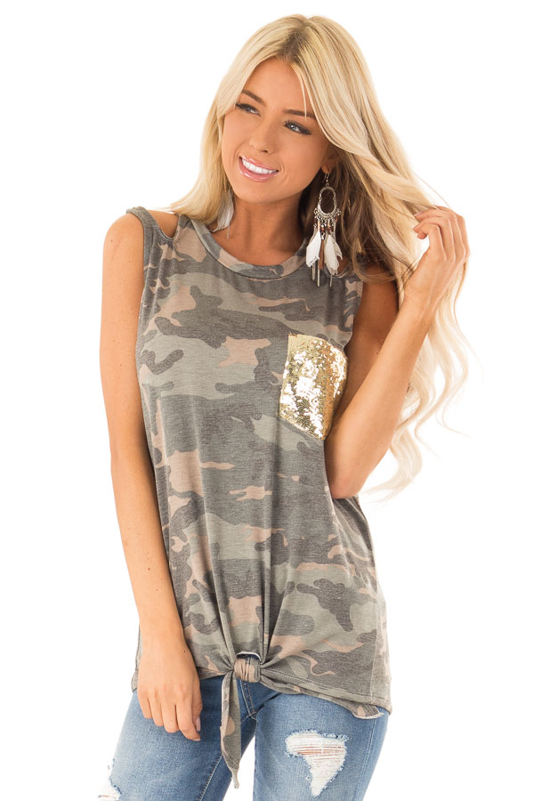 Camo Tank with Shoulder Cutouts Gold Sequin Pocket and Tie front close up