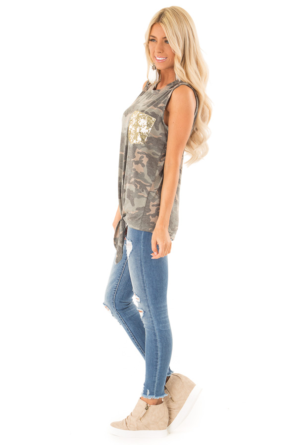 Camo Tank with Shoulder Cutouts Gold Sequin Pocket and Tie side full body