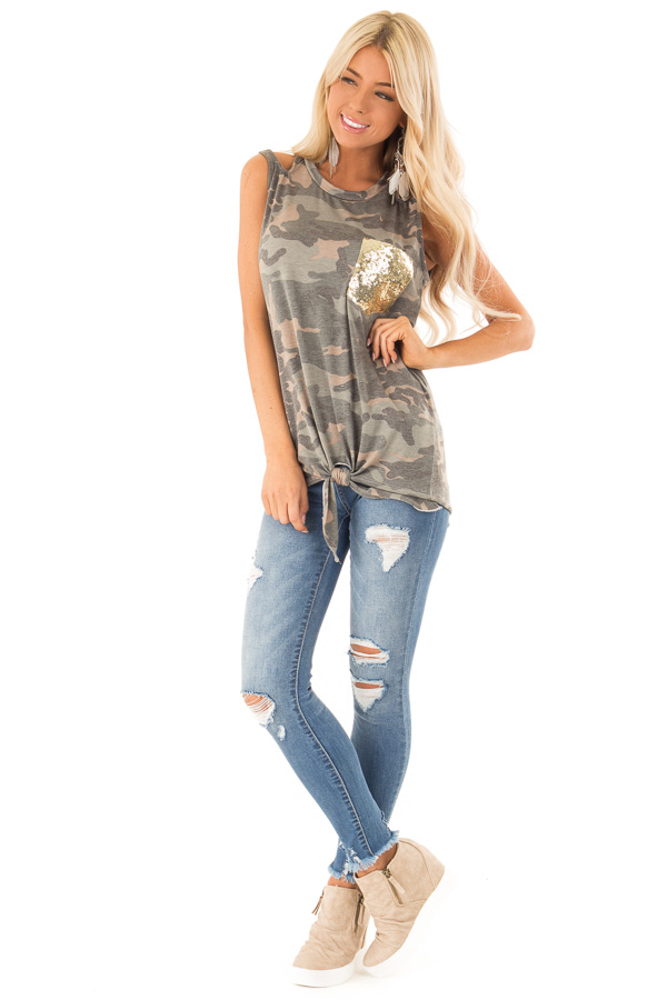 Camo Tank with Shoulder Cutouts Gold Sequin Pocket and Tie front full body
