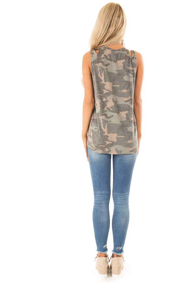 Camo Tank with Shoulder Cutouts Gold Sequin Pocket and Tie back full body