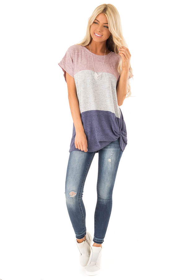 Mauve Color Block Short Sleeve Top with Front Twist front full body