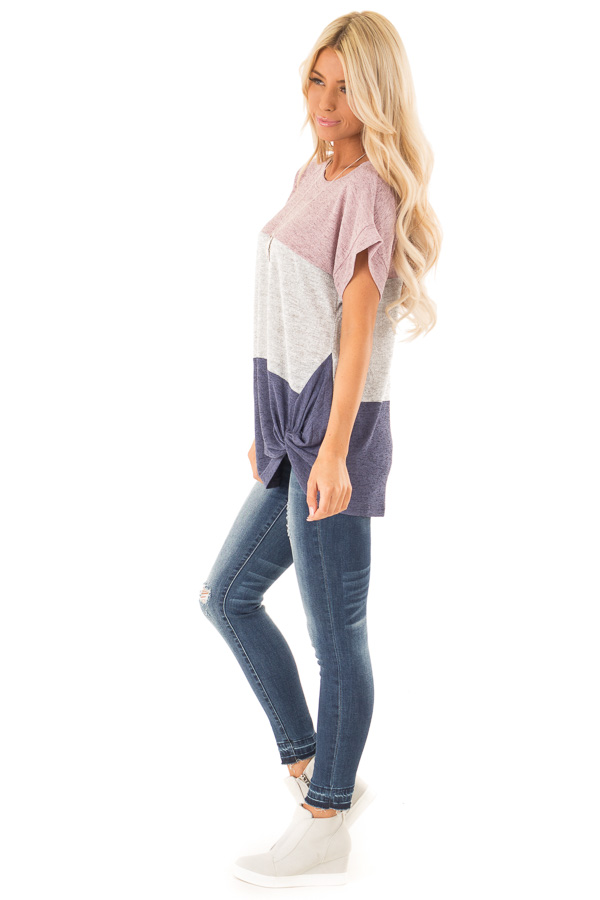 Mauve Color Block Short Sleeve Top with Front Twist side full body