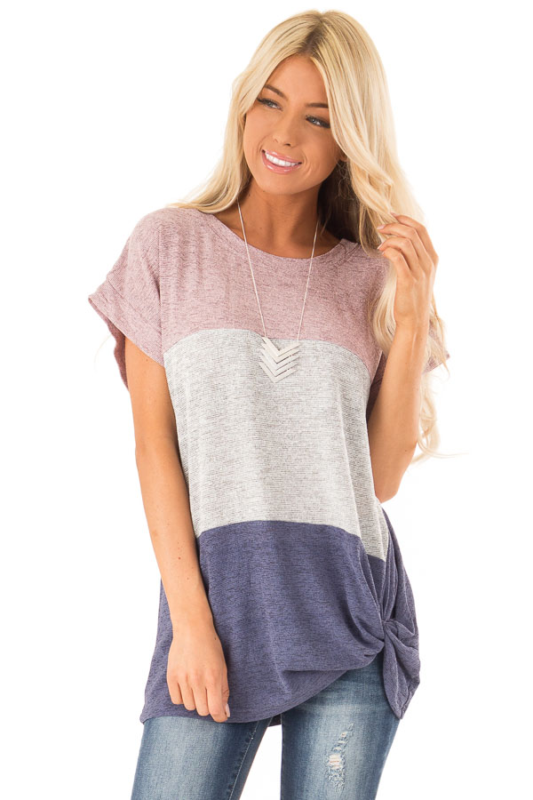 Mauve Color Block Short Sleeve Top with Front Twist front close up
