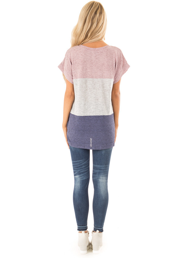 Mauve Color Block Short Sleeve Top with Front Twist back full body