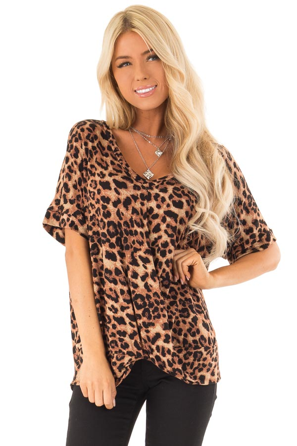 Caramel Leopard Print Short Sleeve Top with Front Twist front close up