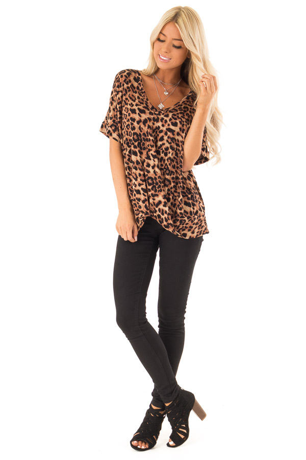 Caramel Leopard Print Short Sleeve Top with Front Twist front full body