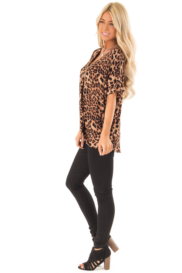 Caramel Leopard Print Short Sleeve Top with Front Twist side full body