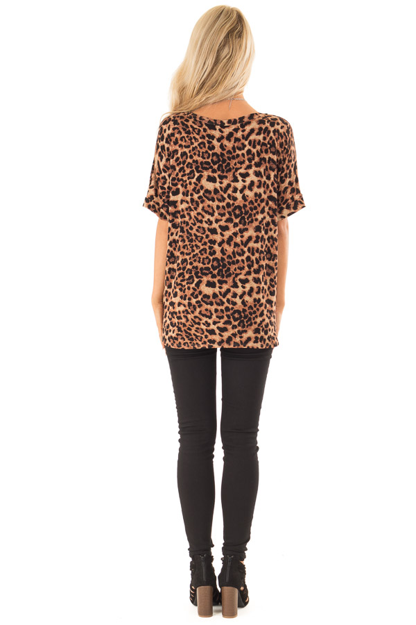 Caramel Leopard Print Short Sleeve Top with Front Twist back full body