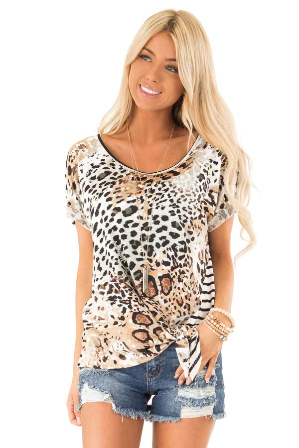Tan and Ivory Animal Print Top with Short Cuff Sleeves front close up