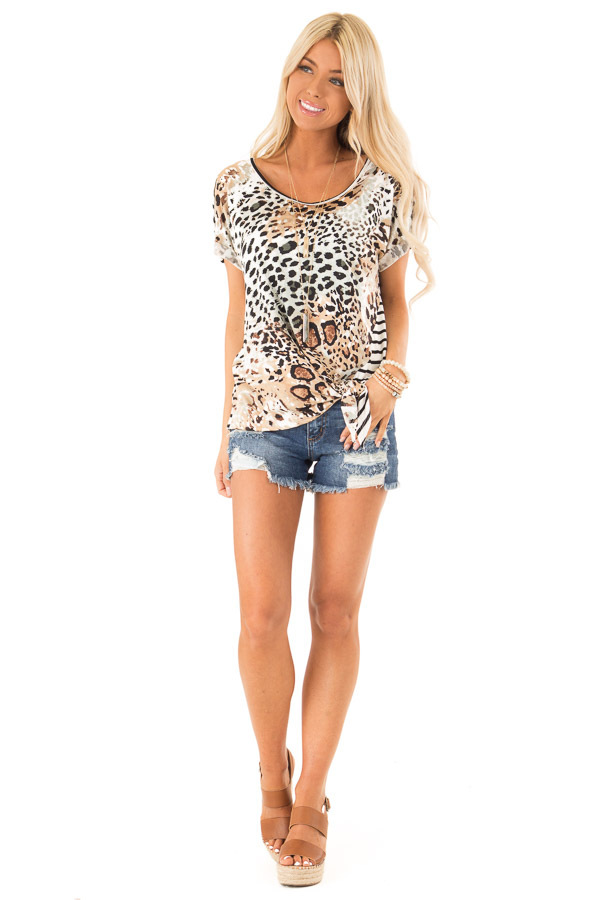 Tan and Ivory Animal Print Top with Short Cuff Sleeves front full body