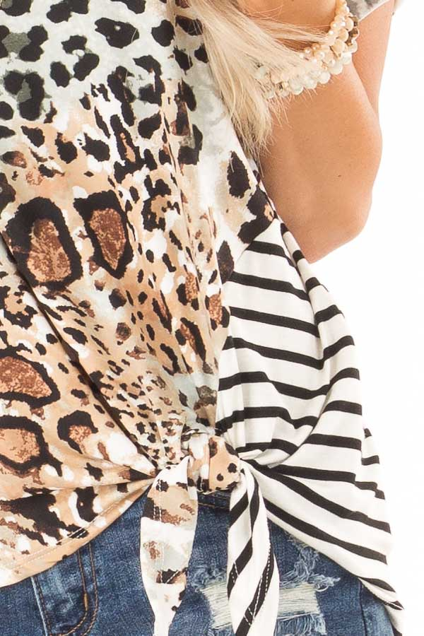Tan and Ivory Animal Print Top with Short Cuff Sleeves detail