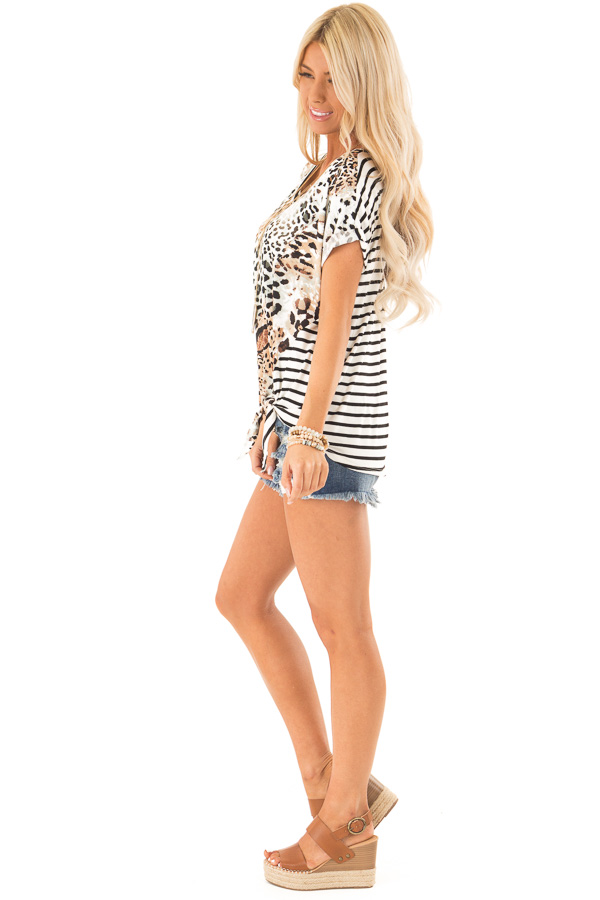 Tan and Ivory Animal Print Top with Short Cuff Sleeves side full body