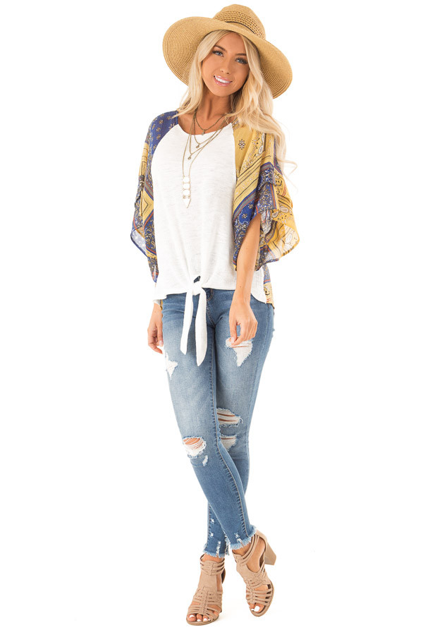Ivory Top with Multicolor Short Sleeves and Front Tie Detail front full body
