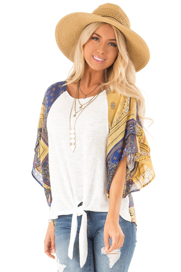 Ivory Top with Multicolor Short Sleeves and Front Tie Detail front close up