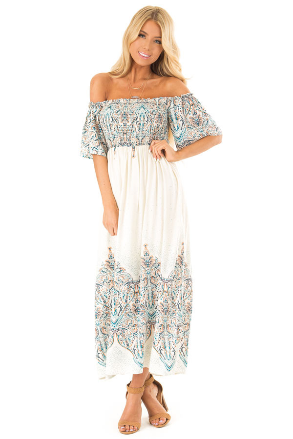 Cream Multi Print Smocked Off the Shoulder Maxi Dress front full body