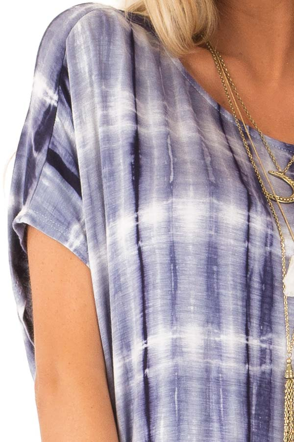 Ocean Blue Tie Dye Open Back Short Sleeve Top detail