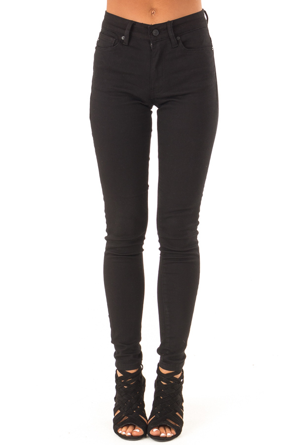 Midnight Black High Waisted Denim Skinny Jeans front view
