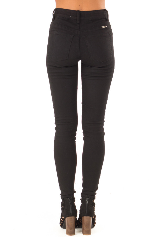 Midnight Black High Waisted Denim Skinny Jeans back view