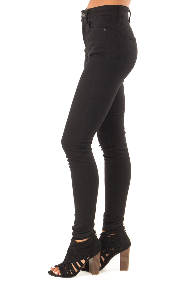 Midnight Black High Waisted Denim Skinny Jeans side view