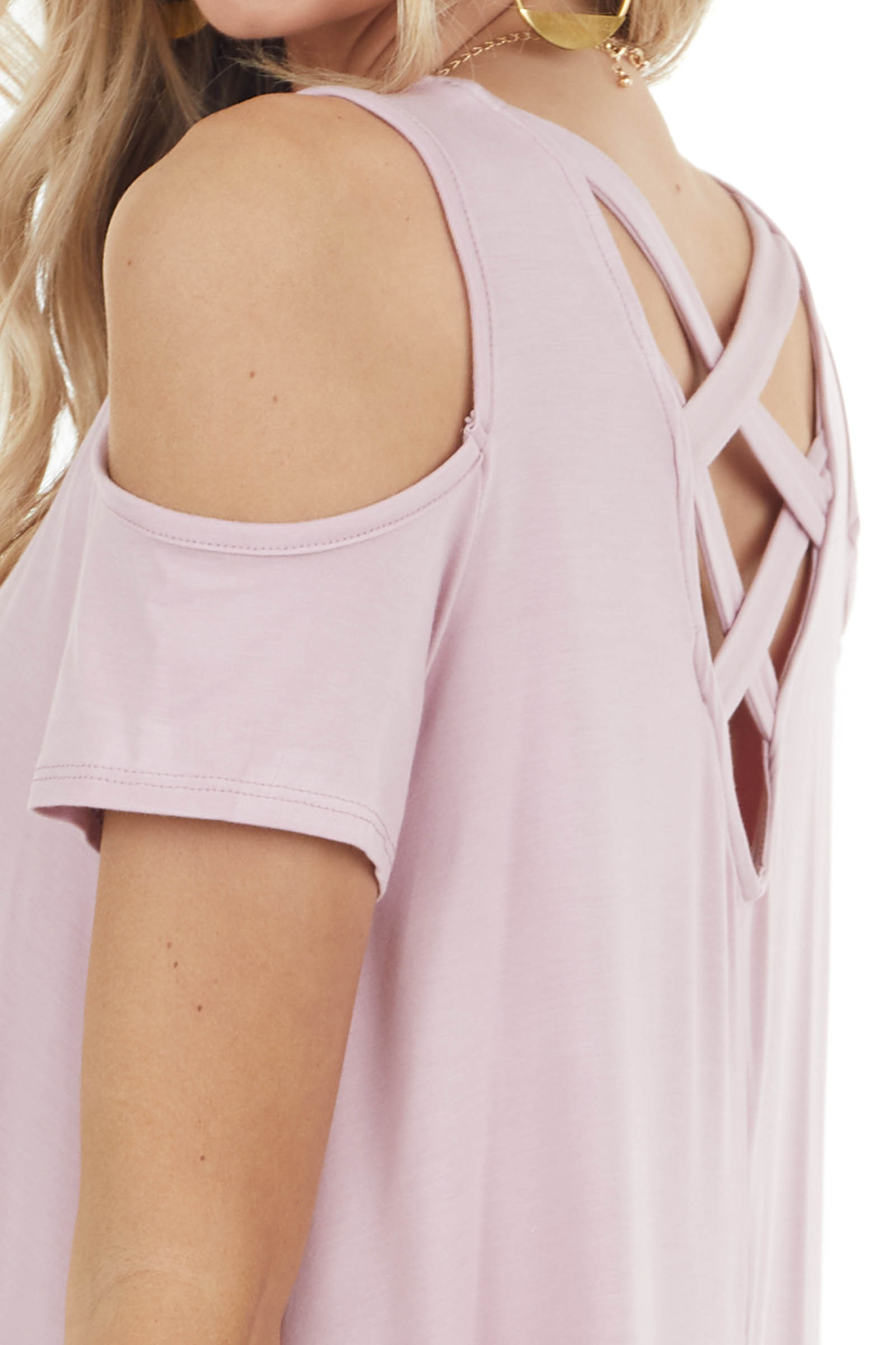 Blush Cold Shoulder Top with Criss Cross Back Detail