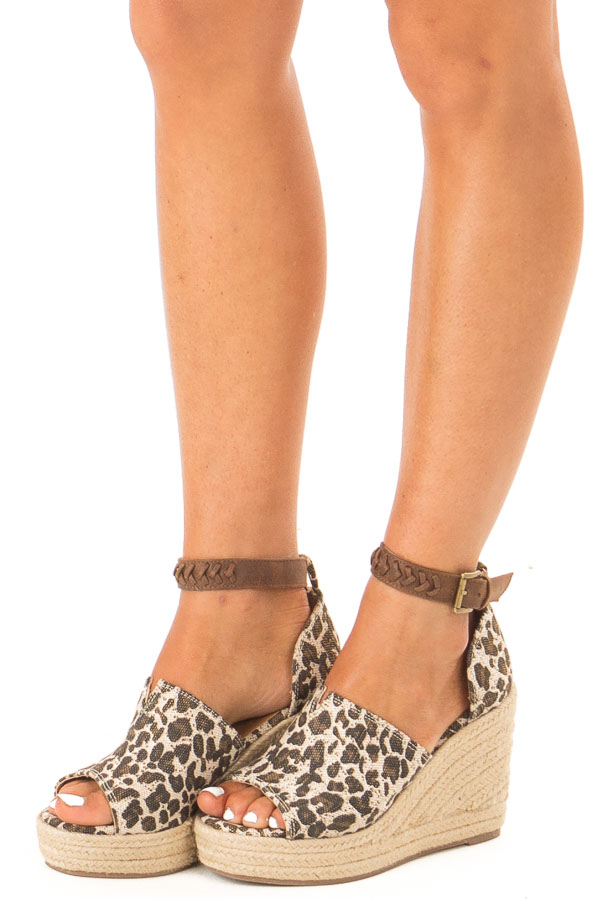 Oatmeal Leopard Print Espadrille Wedge with Ankle Strap front side view