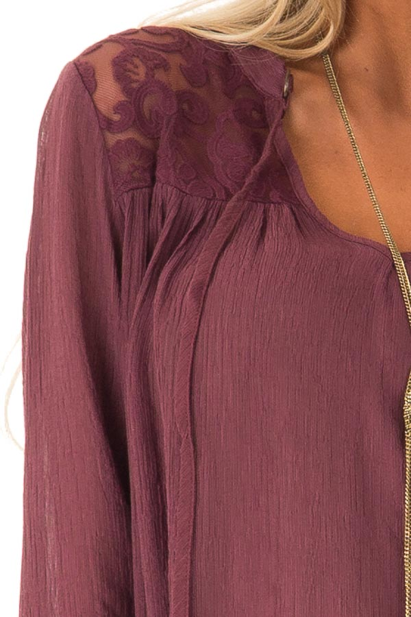 Burgundy 3/4 Sleeve Peasant Top with Lace Yoke and Tie detail