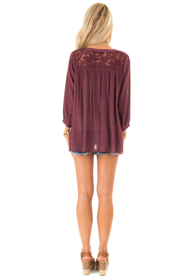 Burgundy 3/4 Sleeve Peasant Top with Lace Yoke and Tie back full body