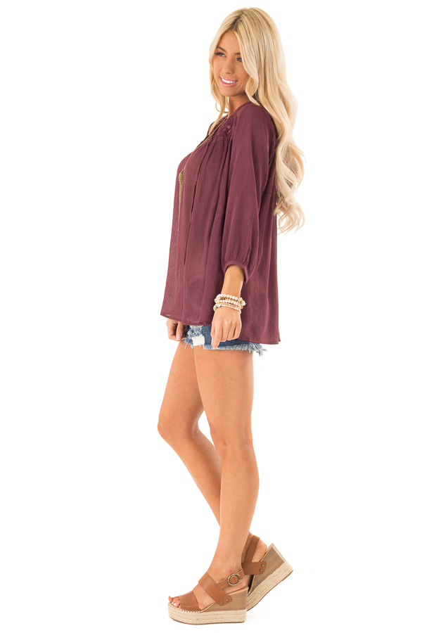 Burgundy 3/4 Sleeve Peasant Top with Lace Yoke and Tie side full body
